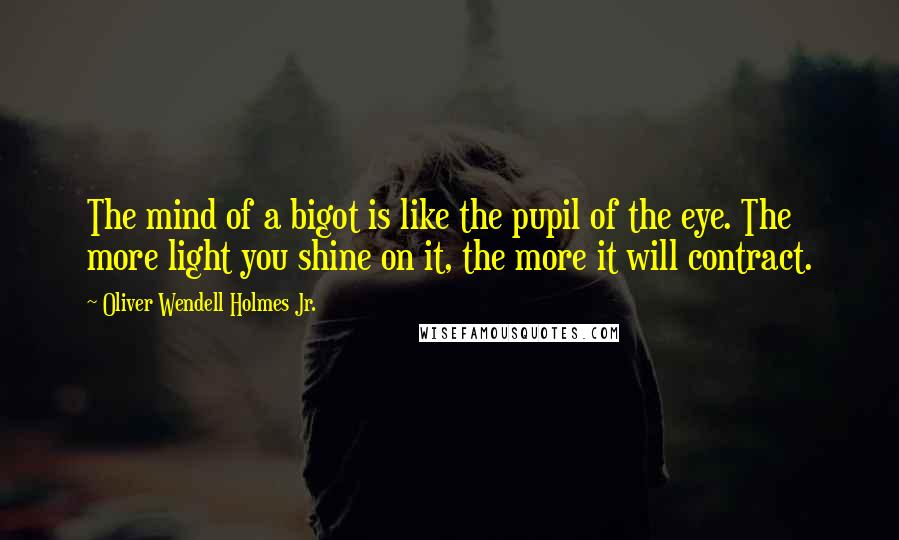 Oliver Wendell Holmes Jr. quotes: The mind of a bigot is like the pupil of the eye. The more light you shine on it, the more it will contract.