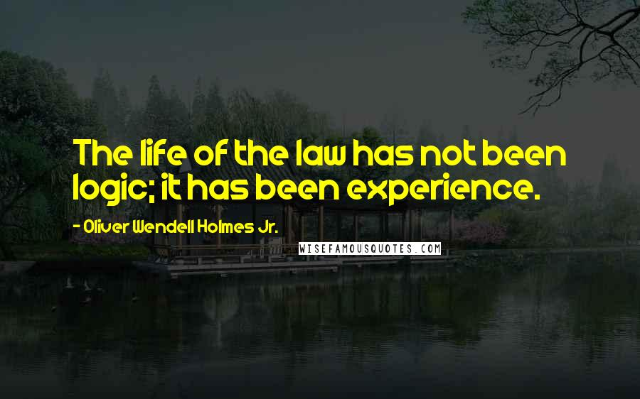 Oliver Wendell Holmes Jr. quotes: The life of the law has not been logic; it has been experience.