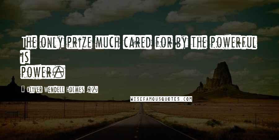 Oliver Wendell Holmes Jr. quotes: The only prize much cared for by the powerful is power.