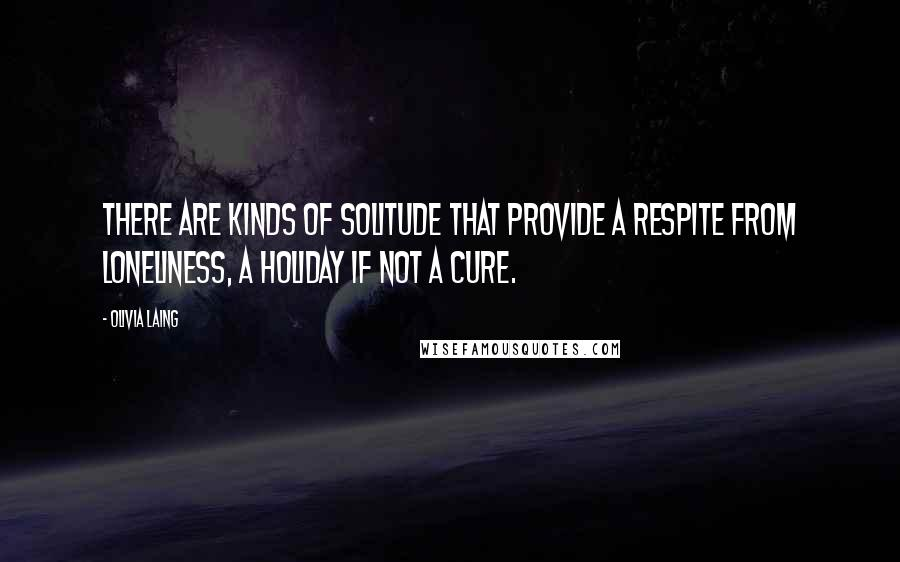 Olivia Laing quotes: There are kinds of solitude that provide a respite from loneliness, a holiday if not a cure.