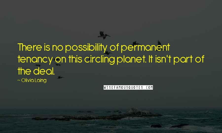 Olivia Laing quotes: There is no possibility of permanent tenancy on this circling planet. It isn't part of the deal.