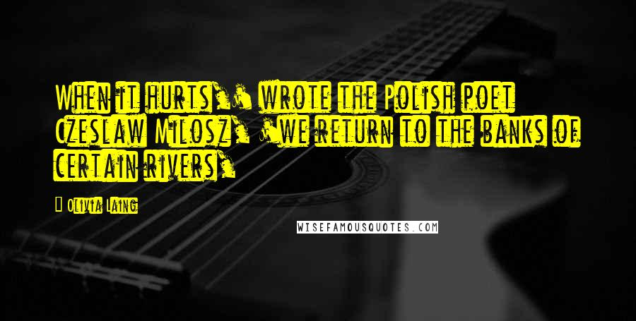 Olivia Laing quotes: When it hurts,' wrote the Polish poet Czeslaw Milosz, 'we return to the banks of certain rivers,