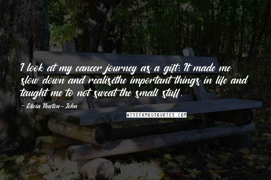 Olivia Newton-John quotes: I look at my cancer journey as a gift: It made me slow down and realisethe important things in life and taught me to not sweat the small stuff.