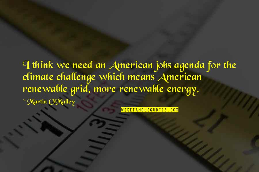 O'malley Quotes By Martin O'Malley: I think we need an American jobs agenda