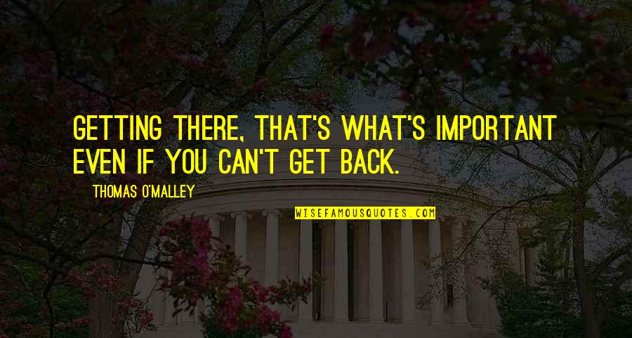 O'malley Quotes By Thomas O'Malley: Getting there, that's what's important even if you