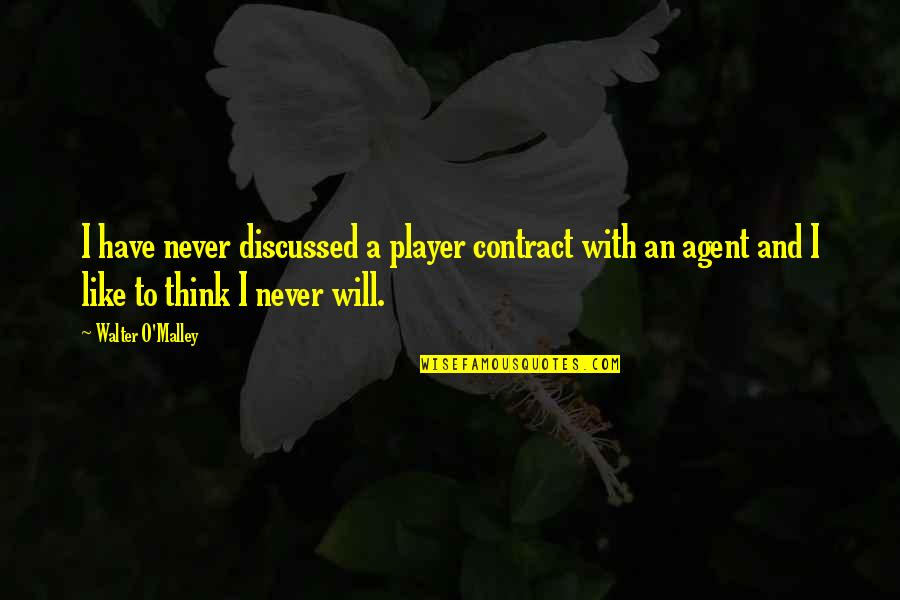 O'malley Quotes By Walter O'Malley: I have never discussed a player contract with