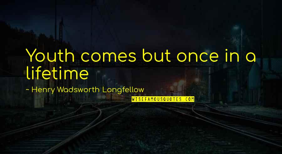 Once In Lifetime Quotes By Henry Wadsworth Longfellow: Youth comes but once in a lifetime