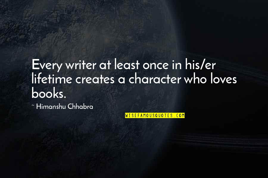 Once In Lifetime Quotes By Himanshu Chhabra: Every writer at least once in his/er lifetime
