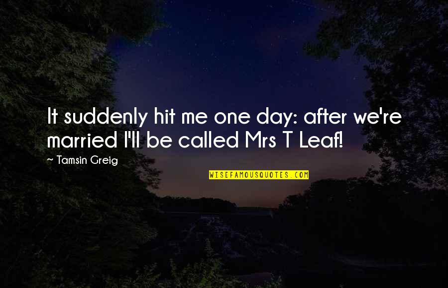 One Day Yes Quotes By Tamsin Greig: It suddenly hit me one day: after we're