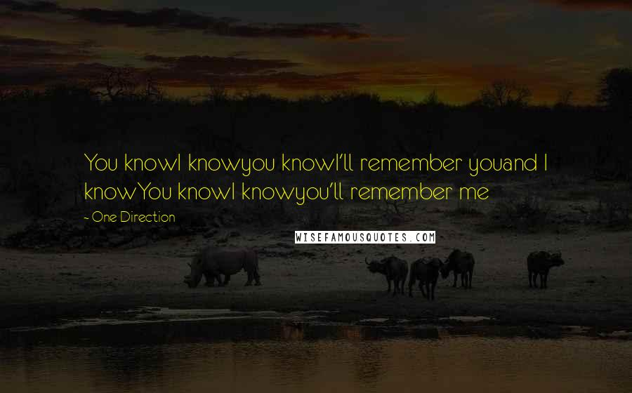 One Direction quotes: You knowI knowyou knowI'll remember youand I knowYou knowI knowyou'll remember me
