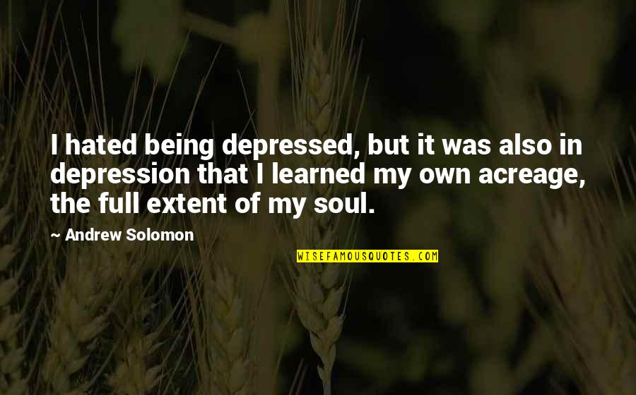 Oneing Quotes By Andrew Solomon: I hated being depressed, but it was also