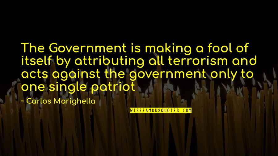 Only A Fool Quotes By Carlos Marighella: The Government is making a fool of itself
