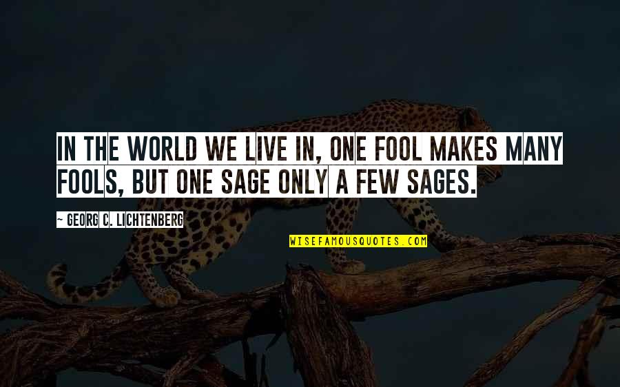 Only A Fool Quotes By Georg C. Lichtenberg: In the world we live in, one fool