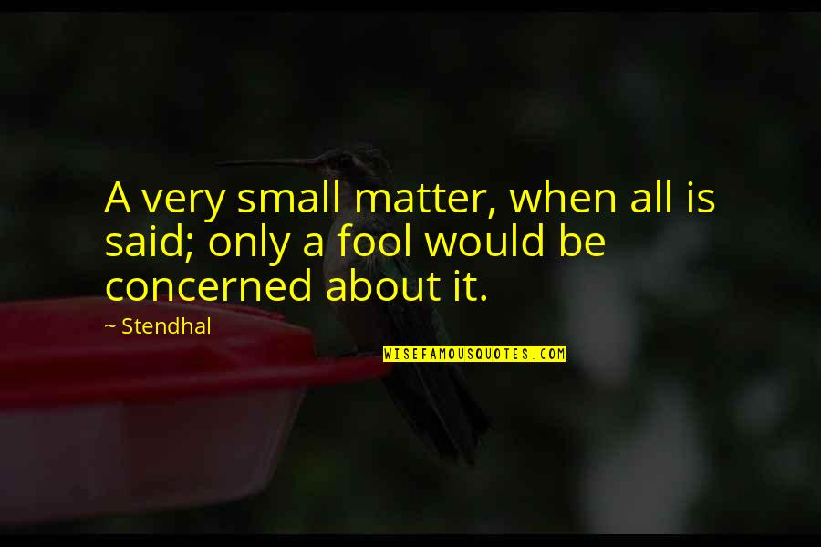 Only A Fool Quotes By Stendhal: A very small matter, when all is said;