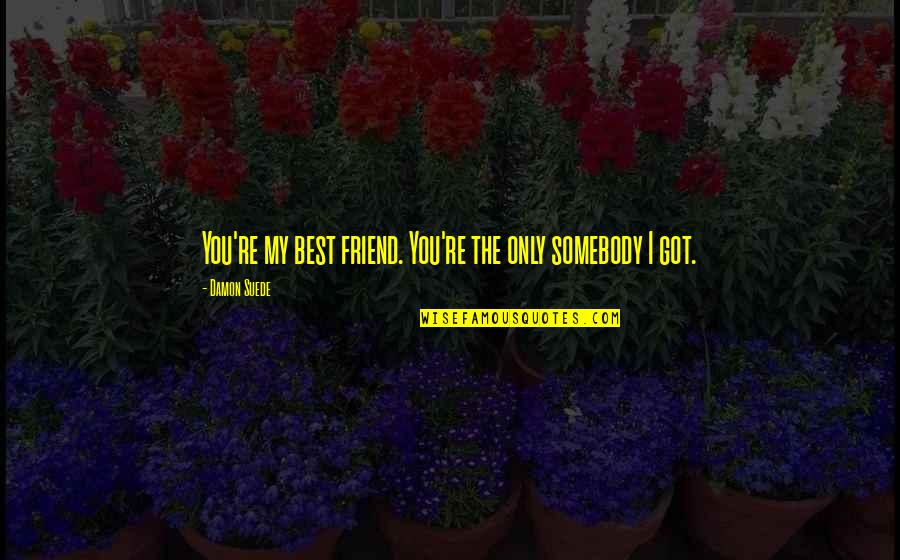 Only Friendship Quotes By Damon Suede: You're my best friend. You're the only somebody
