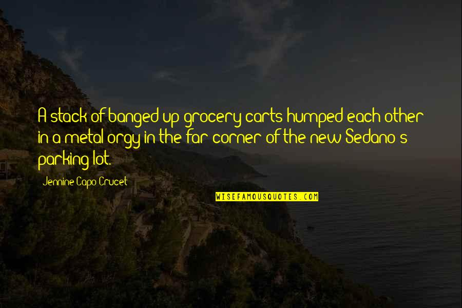 Only God Could Judge Me Quotes By Jennine Capo Crucet: A stack of banged-up grocery carts humped each