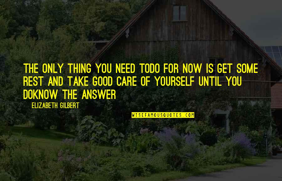 Only Need Yourself Quotes By Elizabeth Gilbert: The only thing you need todo for now