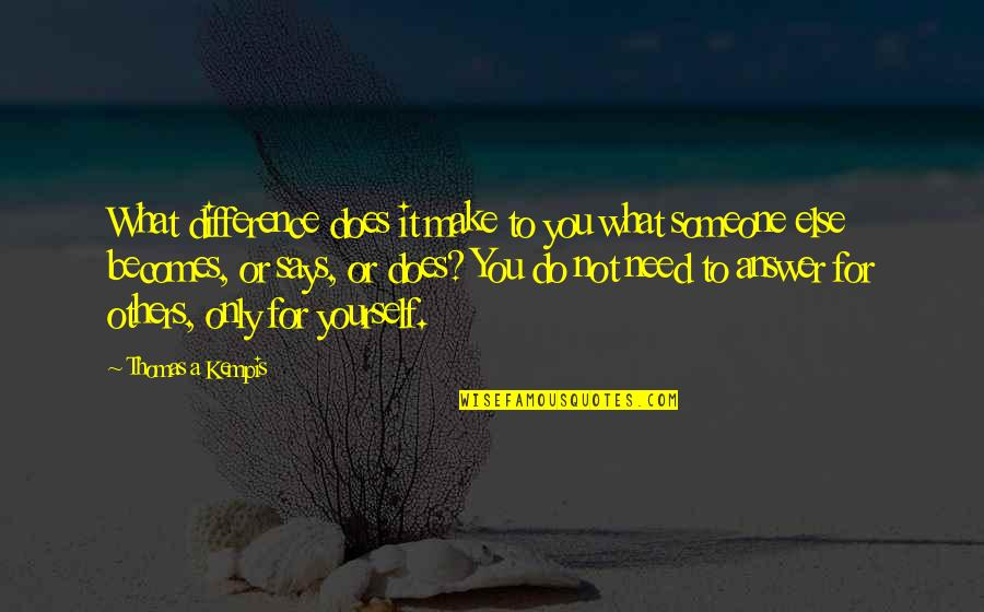 Only Need Yourself Quotes By Thomas A Kempis: What difference does it make to you what