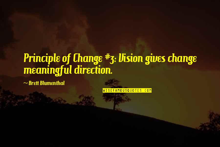 Only The Good Die Young Similar Quotes By Brett Blumenthal: Principle of Change #3: Vision gives change meaningful
