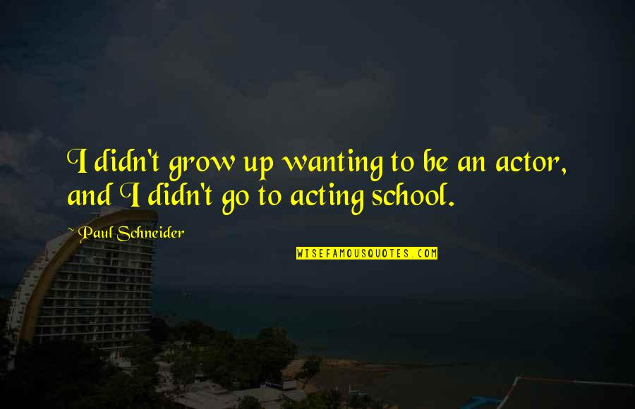 Only Wanting You Quotes By Paul Schneider: I didn't grow up wanting to be an