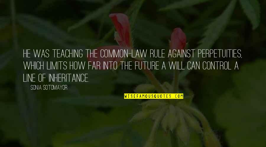 Only You Can Control Your Future Quotes By Sonia Sotomayor: He was teaching the common-law rule against perpetuities,