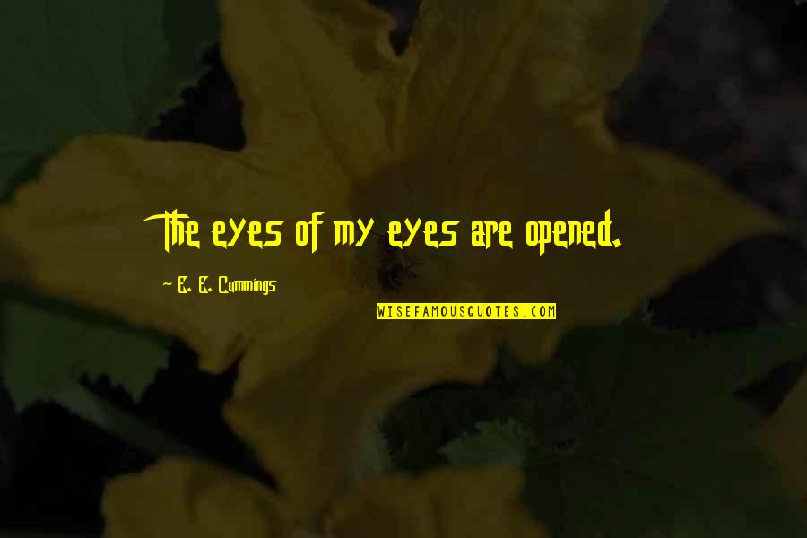 Opened My Eyes Quotes By E. E. Cummings: The eyes of my eyes are opened.