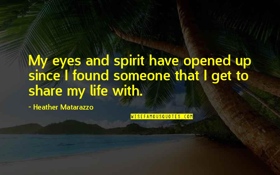 Opened My Eyes Quotes By Heather Matarazzo: My eyes and spirit have opened up since
