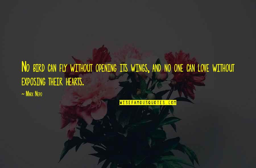 Opening Your Heart To Love Quotes By Mark Nepo: No bird can fly without opening its wings,