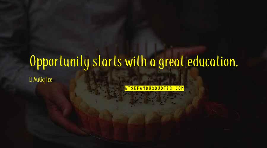 Opportunity And Education Quotes By Auliq Ice: Opportunity starts with a great education.