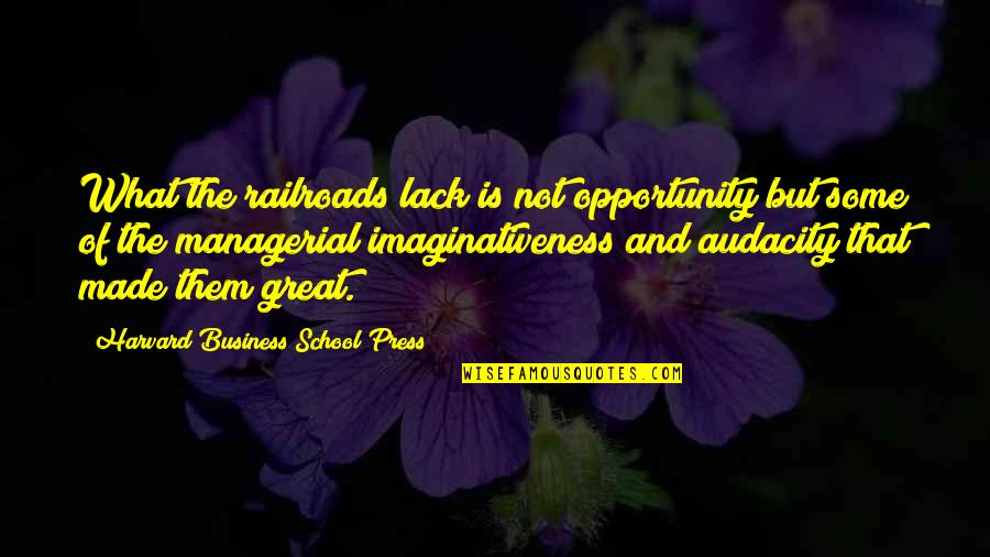 Opportunity In Business Quotes By Harvard Business School Press: What the railroads lack is not opportunity but