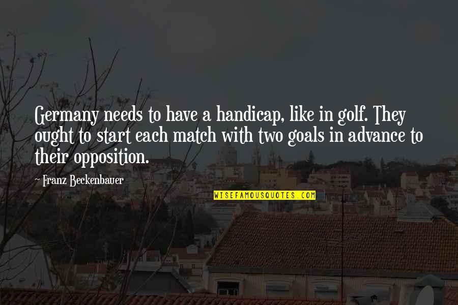 Opposition Quotes By Franz Beckenbauer: Germany needs to have a handicap, like in