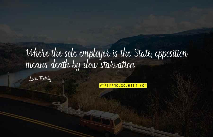 Opposition Quotes By Leon Trotsky: Where the sole employer is the State, opposition