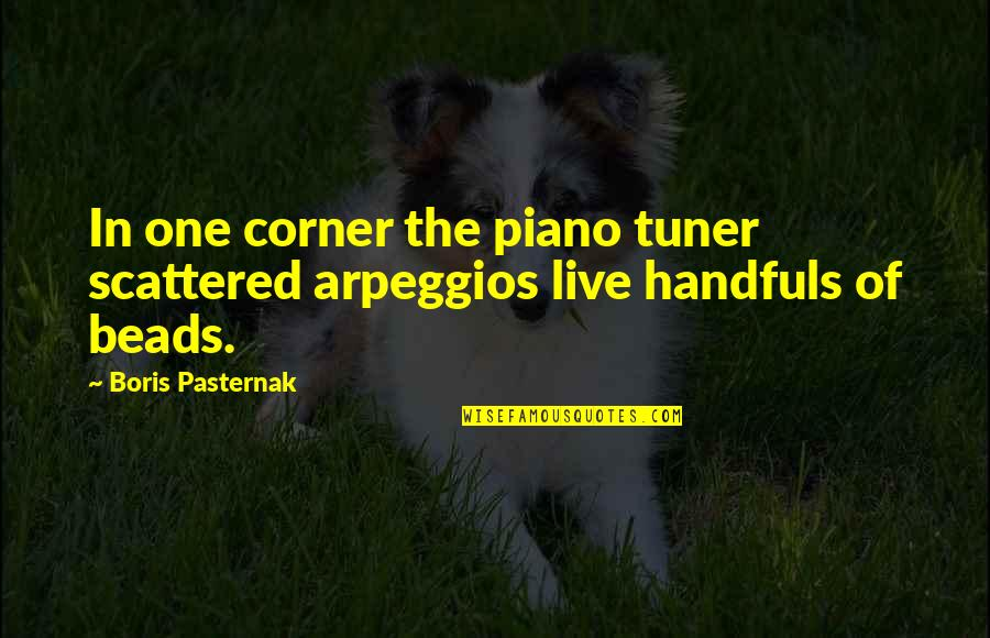 Oppression And Revolution Quotes By Boris Pasternak: In one corner the piano tuner scattered arpeggios