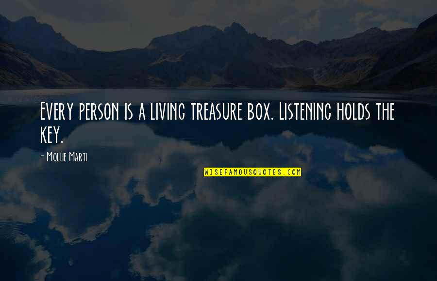 Optic Killa Quotes By Mollie Marti: Every person is a living treasure box. Listening