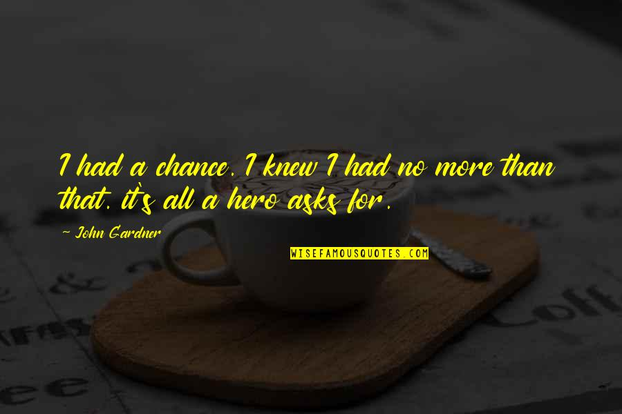 Optimism's Quotes By John Gardner: I had a chance. I knew I had