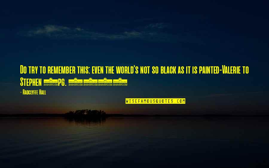 Optimism's Quotes By Radclyffe Hall: Do try to remember this: even the world's