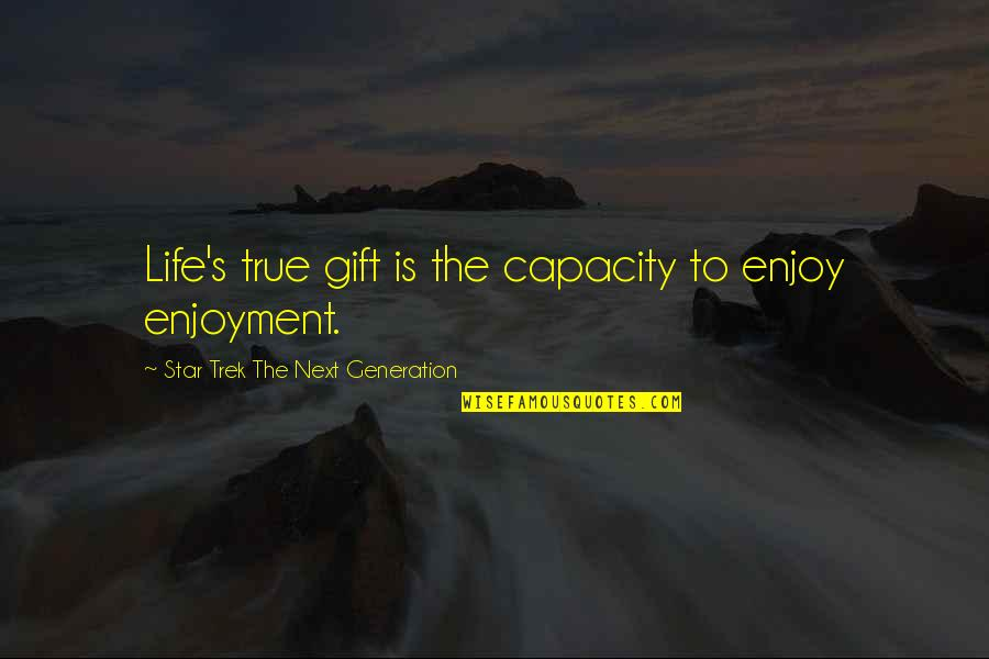 Optimism's Quotes By Star Trek The Next Generation: Life's true gift is the capacity to enjoy