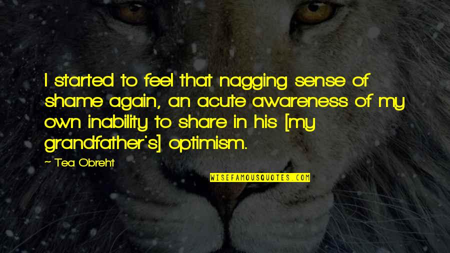 Optimism's Quotes By Tea Obreht: I started to feel that nagging sense of