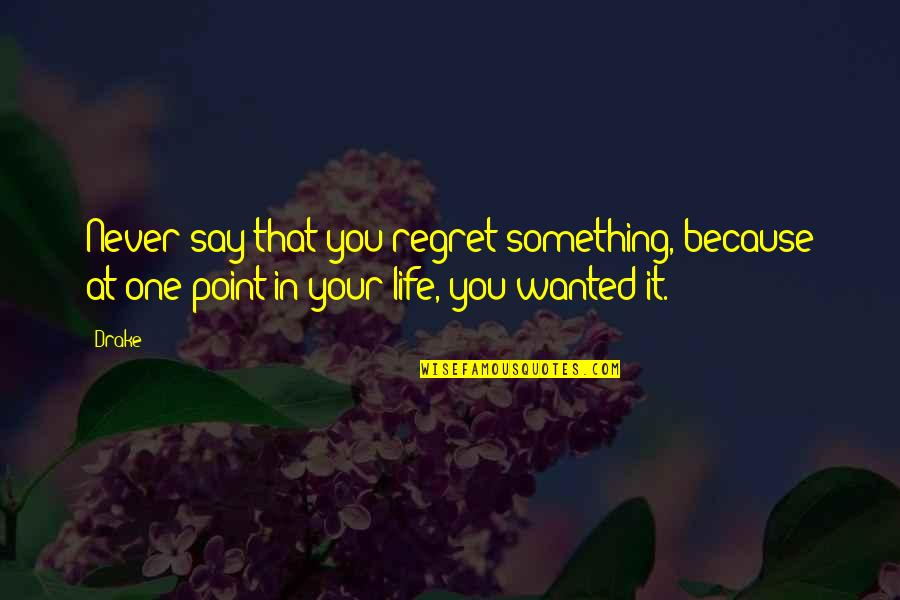 Opus Penguin Quotes By Drake: Never say that you regret something, because at