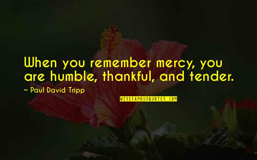 Opus Penguin Quotes By Paul David Tripp: When you remember mercy, you are humble, thankful,