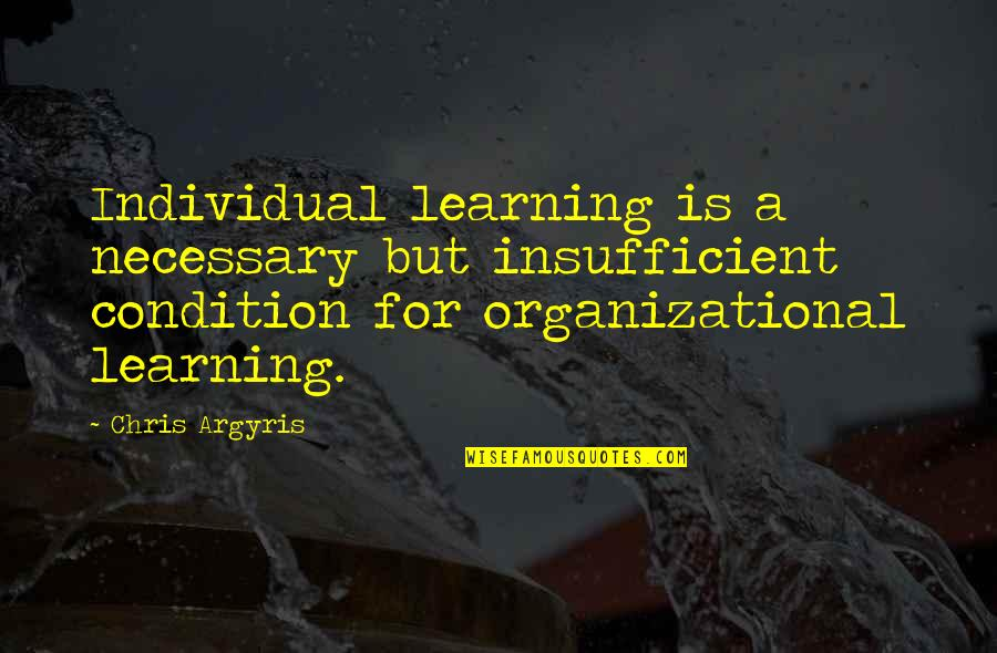 Organizational Quotes By Chris Argyris: Individual learning is a necessary but insufficient condition