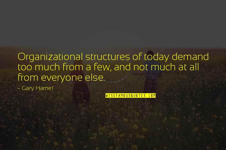 Organizational Quotes By Gary Hamel: Organizational structures of today demand too much from