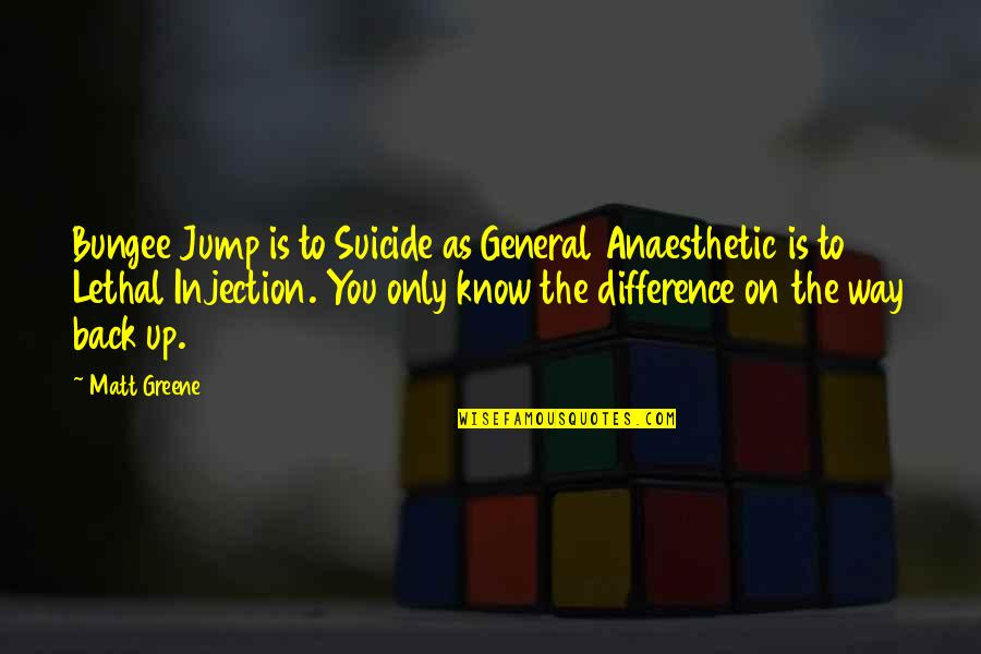 Organizational Values Quotes By Matt Greene: Bungee Jump is to Suicide as General Anaesthetic