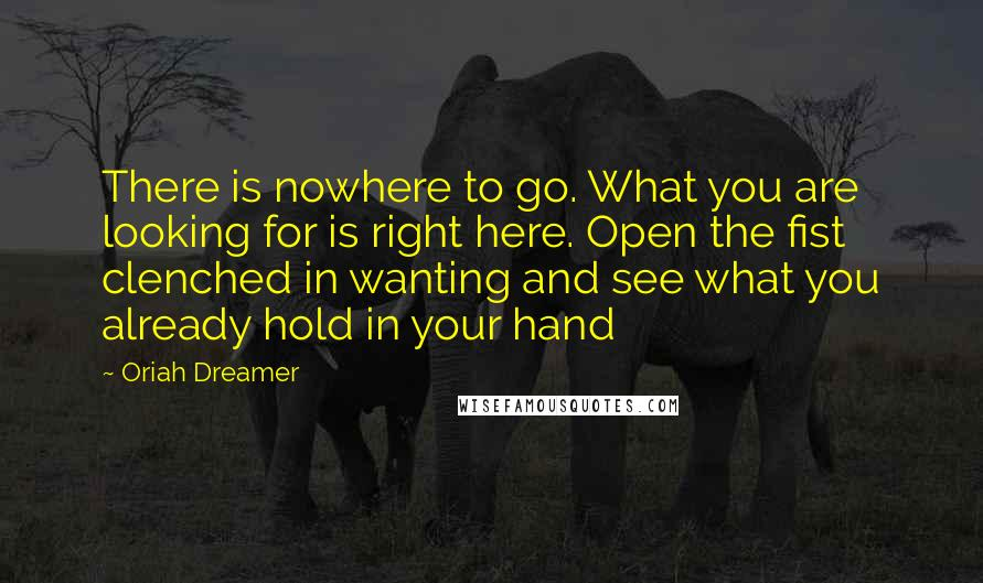 Oriah Dreamer quotes: There is nowhere to go. What you are looking for is right here. Open the fist clenched in wanting and see what you already hold in your hand