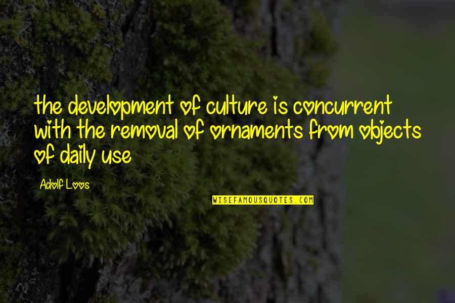 Ornaments Quotes By Adolf Loos: the development of culture is concurrent with the