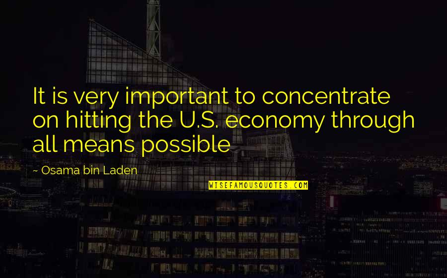 Osama Bin Laden Quotes By Osama Bin Laden: It is very important to concentrate on hitting