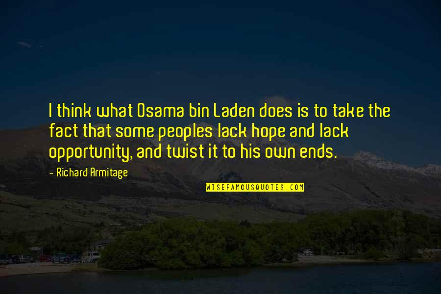 Osama Bin Laden Quotes By Richard Armitage: I think what Osama bin Laden does is