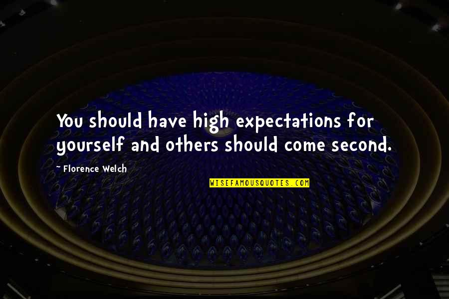 Osharing Quotes By Florence Welch: You should have high expectations for yourself and