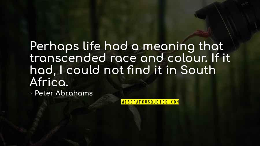 Othodoxy Quotes By Peter Abrahams: Perhaps life had a meaning that transcended race