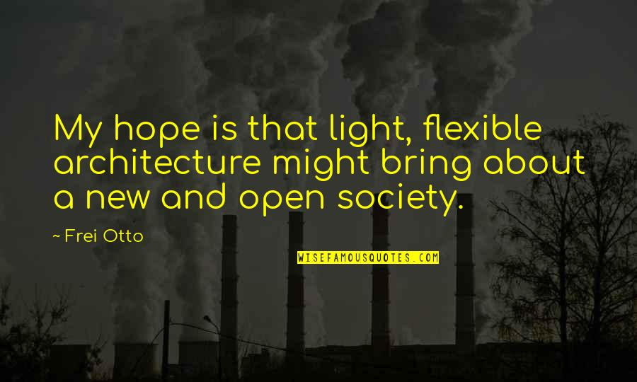 Otto Quotes By Frei Otto: My hope is that light, flexible architecture might